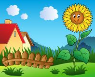 Meadow with cartoon sunflower. Illustration Royalty Free Stock Photography