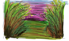 Meadow Clip-art. A nice meadow clip-art picture with attractive color combination. This clip art can be used at comics, articles, stories, etc stock illustration