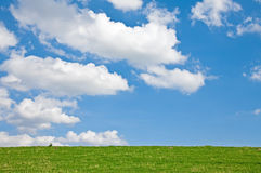 Meadow with Clouds. This image shows a green meadow with sky and clouds stock photography