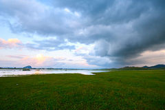 The meadow and clouds. The photo was taken in Wulanbutong scenic spot of Hexigten national Geopark Chifeng city Nei Monggol Autonomous Region,China stock photos