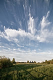 Meadow and clouds skyscape Royalty Free Stock Image
