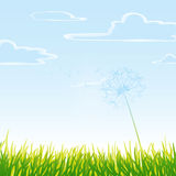 Meadow with cloudy sky. Vector art Stock Photo
