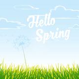 Meadow with cloudy sky and Hello Spring text. Stock Photos