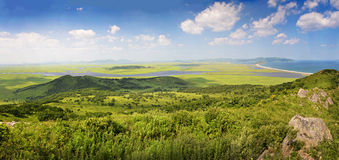 Meadow and coast, Sea of Japan, Primorye, panorama Stock Images