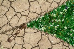 Meadow and Cracked soil stock illustration
