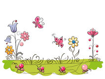Meadow with Cute Flowers. And butterflies on a white background