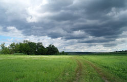 Meadow and the dark dramatic rain clouds Royalty Free Stock Photos