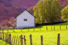 Meadow farm in autumn at Irati Pyrenees Navarra Spain Royalty Free Stock Photography