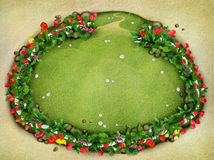 Meadow with fence and flowers, top view Stock Photo