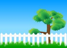 Meadow fence tree Stock Photos