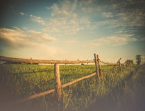 Meadow fence stock image
