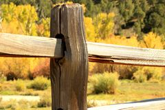 Meadow Fenceline. A beautiful wooden fence in a Colorado meadow Stock Image