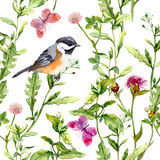 Meadow - flowers, butterflies, birds and herbs. Seamless watercolor floral pattern. Royalty Free Stock Photography