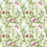 Meadow: flowers and butterflies. Watercolor repeated pattern Stock Photos