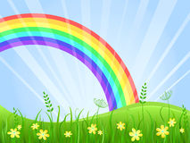 Meadow with Flowers and Rainbow. Summer Green Meadow with Yellow flowers. Landscape with Rainbow. illustration Royalty Free Stock Photos