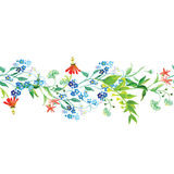 Meadow flowers seamless horizontal vector banner Stock Image