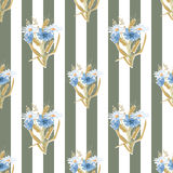 Meadow flowers seamless pattern on striped Stock Image