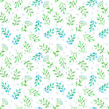 Meadow flowers, spring grass. Cute ditsy repeating pattern. Watercolor. Meadow flowers, herb and spring grass. Cute ditsy repeating pattern. Watercolor Stock Photos