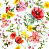 Meadow flowers, summer grasses and plants. Repeating summer pattern. Watercolor stock illustration