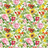 Meadow flowers, summer herbs. Seamless floral pattern. Watercolor. Vintage flowers, wild herbs. Seamless repeating floral and herbal pattern. Watercolor Royalty Free Stock Photos