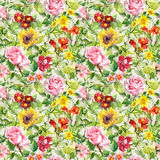 Meadow flowers, summer herbs. Seamless floral pattern. Watercolor. Vintage flowers, wild herbs. Seamless repeating floral and herbal pattern. Watercolor Royalty Free Stock Images