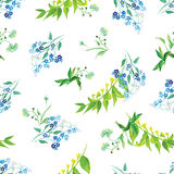 Meadow flowers watercolor seamless vector print Stock Image