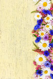 Meadow flowers on yellow rustic wooden background. Stock Image
