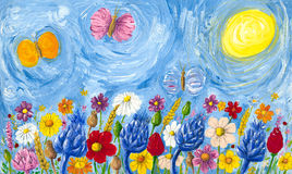 Meadow full of colorful flowers. Acrylic illustration of meadow full of colorful flowers Stock Image