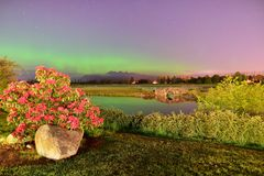 Meadow Gardens Golf Field and Golden Ears Mount With Aurora Royalty Free Stock Image