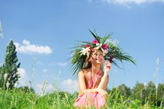 Meadow girl Royalty Free Stock Image