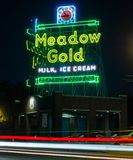 Meadow Gold, Neon Sign. Route 66. royalty free stock photography