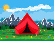 Meadow with grass and camping. Tents, flowers, mountains, trees, sky, sun and clouds. Vector illustration in flat style Royalty Free Stock Image
