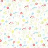 Meadow grasses and flowers seamless pattern. In hand-drawn style. Pastel colors Royalty Free Stock Images
