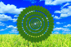 Meadow with green grass and cloudy sky and pattern fron green leaves Royalty Free Stock Photography