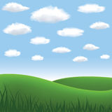 Meadow and hills. Green meadow, hill, blue sky and clouds in summertime royalty free illustration
