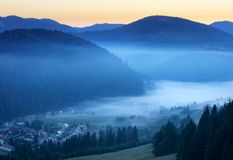 Meadow and hills at sunrise, Mlynky, Slovakia Royalty Free Stock Images