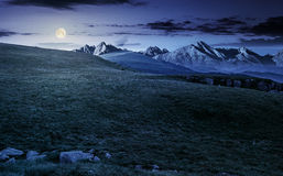 Meadow with huge stones on top of mountain range at night. Hight Tatra mountain summer landscape at night in full moon light. meadow with huge stones among the Stock Photography
