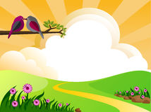 Meadow. Illustration of landscape with clouds and birds Royalty Free Stock Images