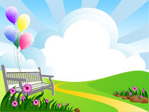 Meadow. Illustration of landscape with flowers clouds and balloons Royalty Free Stock Image