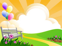 Meadow. Illustration of landscape with flowers clouds and balloons Stock Photography