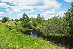 Meadow Lake near the village of Chernukha. Rural Lake in Nizhny Novgorod region stock image