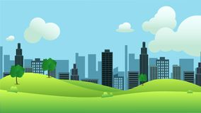 Meadow landscape with city on background. Vector illustration.Public park and town with sky background.Beautiful nature scene vector illustration