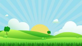 Meadow landscape with grass foreground illustration. Green field and sky blue with white cloud background Stock Image