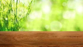 Meadow landscape with wooden table Stock Photos