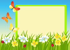 Meadow and message board. vector illustration