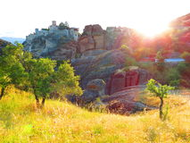 Meadow at monastery, Meteora, Greece Stock Image