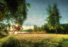 A meadow in the morning. A photograph of a meadow made to look like an old painting Royalty Free Stock Image