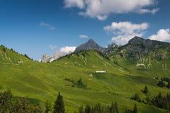 Meadow mountain chain in tyrol Stock Photos