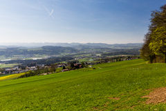 Meadow on Mountain Heitersberg with view to the hospital in Bell Royalty Free Stock Photo