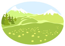 Meadow in a mountain valley. Illustration Royalty Free Stock Image